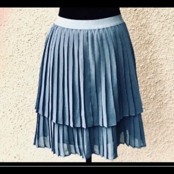 eca72baf0 LC Lauren Conrad Skirts   Lauren Conrad Grayblue Pleated Chiffon ...